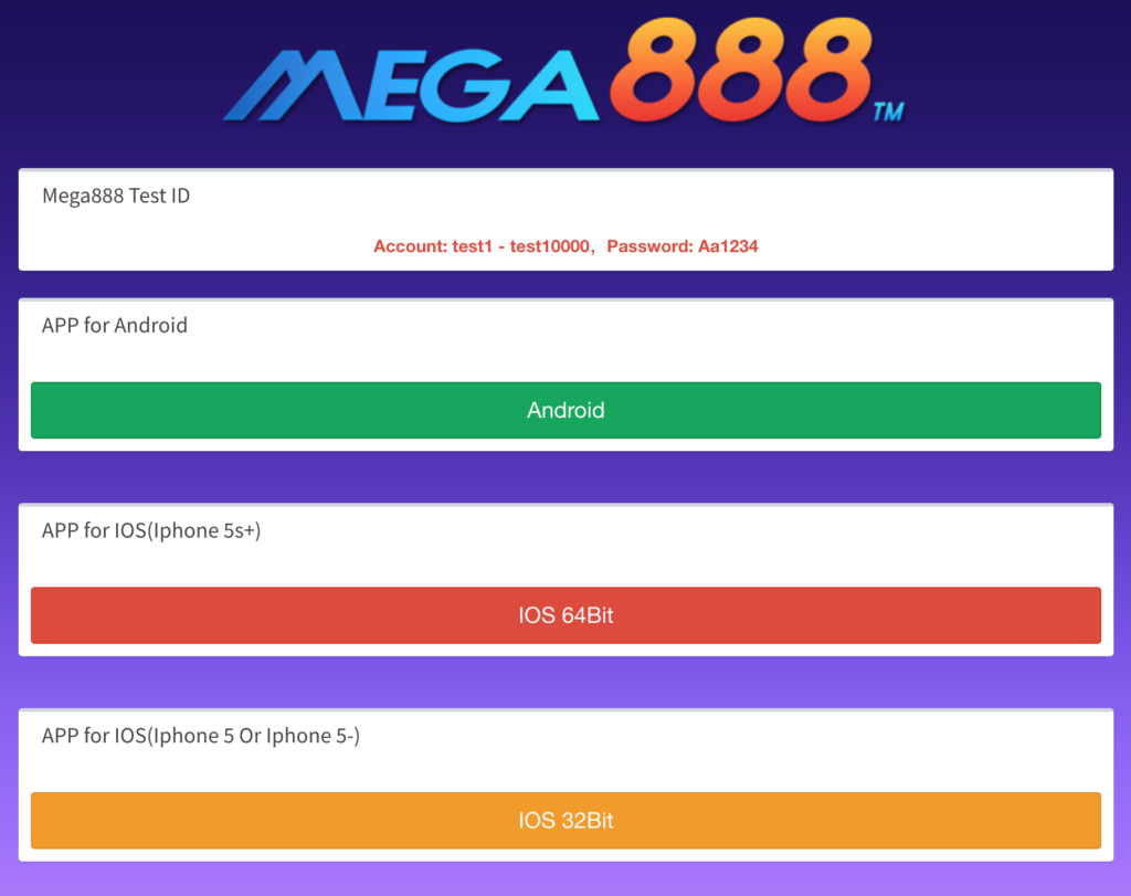 Mega888 Test ID - Claim and Test Play today! - Play666